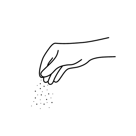 Illustration for thin line chef woman hand with salt - Royalty Free Image