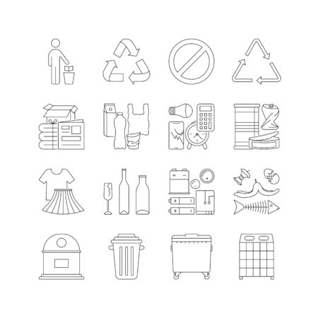 Illustration pour set of garbage cans with sorted garbage - image libre de droit