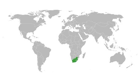 Illustration pour South africa highlighted in green color on world map vector illustration. - image libre de droit
