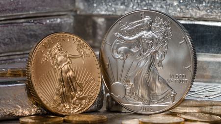 Photo for American Gold Eagle vs. Silver Eagle - Royalty Free Image