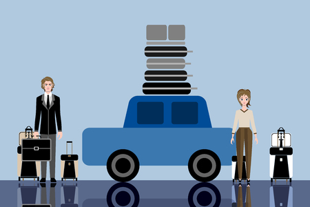 Young travelers couple with suitcases. Car and luggage on the roof. Travelers ready for road trip and a long vacation. Vector flat illustration. Concept for infographic, catalogs, information, travel.