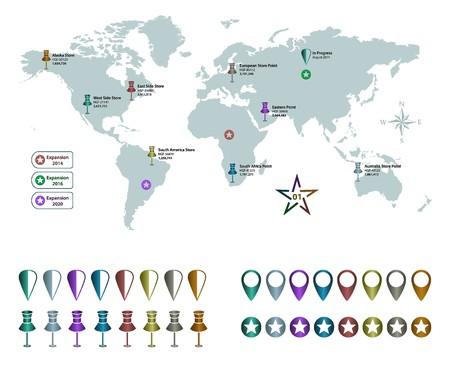 World Map and Pushpins