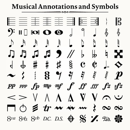 Elements of musical symbols, icons and annotations.