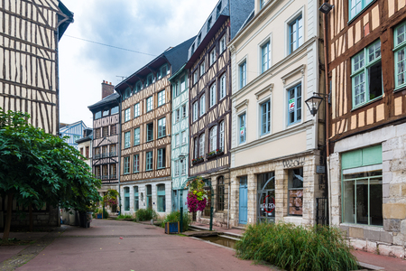 Rouen, France - September 4, 2016: The street Eau de Robec in Rouen, with its waterway and its little bridges.