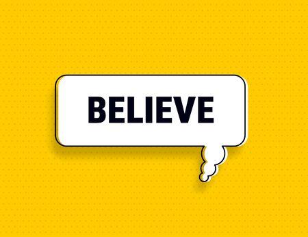 Illustration pour Believe speech bubble banner pop art memphis style - image libre de droit