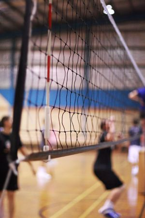 Volleyball net on an indoor court