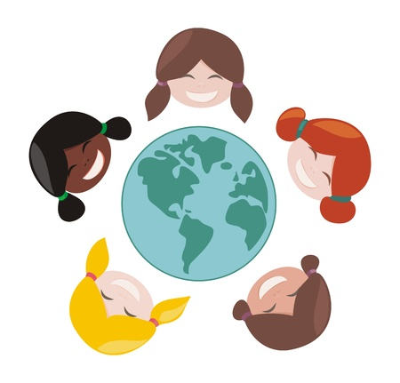 Happy, smiling multicultural girls group around the world. Vector illustration isolated on white background with laughing faces around planet earth illustration