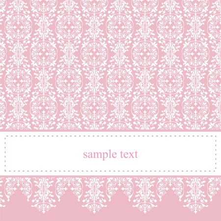 Illustration pour Sweet, pink vector card or invitation for party, birthday, baby shower with white classic elegant lace  Cute background with white space to put your own text message  - image libre de droit