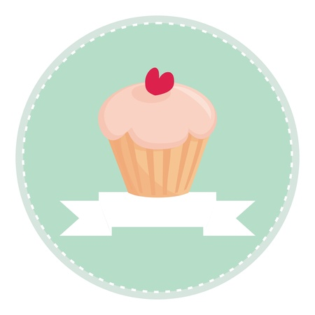 Sweet retro cupcake muffin with heart on top, vector isolated on white background, with place for your own text  Button, logo or invitation card
