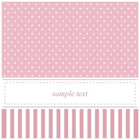 Illustration pour Sweet pink vector card, baby shower or wedding invitation with polka dots and white background to put your own text message - image libre de droit