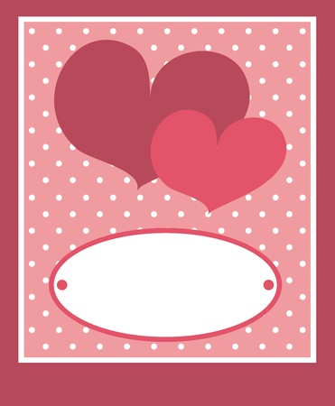 Cute pink heart with dots background and white space to put your own text message. Card or invitation; vector illustration