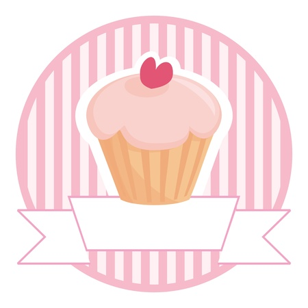 Sweet retro cupcake on pink vintage strips background with white place for your own text. Button, logo or wedding invitation card.