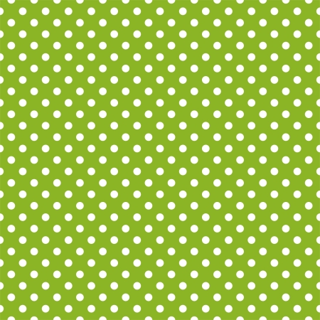 Vector seamless pattern with white polka dots on a retro fresh, spring grass green background.