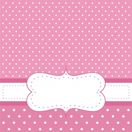 Illustration pour Sweet, pink polka dots card or invitation. Cute background with white space to put your own text message. Cocktail party, birthday, baby shower or wedding  - image libre de droit