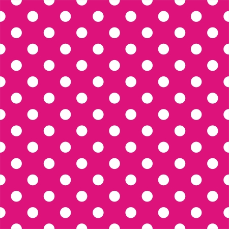 Illustration pour Vector seamless pattern with white polka dots on a neon pink background  For cards, albums, backgrounds, arts, crafts, fabrics, decorating or scrapbooks  - image libre de droit