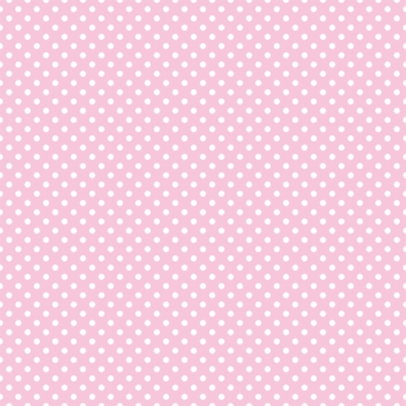 Illustration pour Vector seamless pattern with small white polka dots on a pastel pink background. For cards, albums, backgrounds, arts, crafts, fabrics, decorating or scrapbooks. - image libre de droit