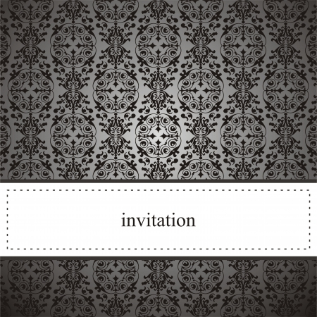 Classic elegant card or invitation for party, birthday ,wedding with black lace and dark grey background. White space to put your own text message.