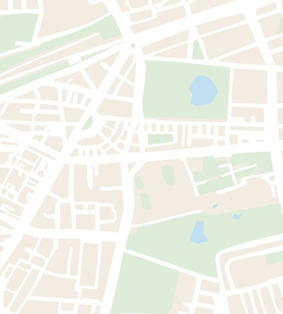 Abstract city map vector illustration with streets, parks and ponds