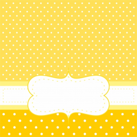 Sweet invitation or card with white polka dots on yellow cute background with white space to put your own text message. For baby shower party invitation, wedding or New Year card