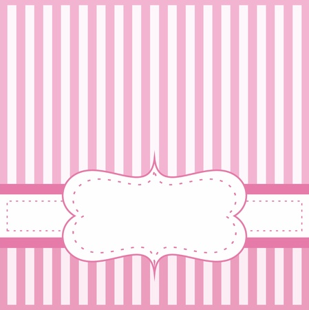 Pink vector card invitation for baby shower, wedding or birthday party with white stripes.