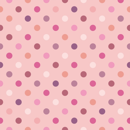 Illustration pour Colorful vector background with polka dots on baby pink background - retro seamless pattern or texture for desktop wallpaper, blog, www, scrapbooks, party or baby shower invitations, wedding cards. - image libre de droit