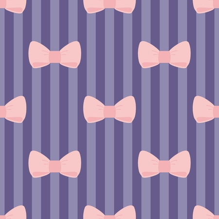 Seamless Vector Pattern With Pastel Pink Bows On A Navy Blue
