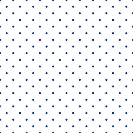 Illustration pour Seamless vector pattern with small tile sailor navy blue polka dots on white background - image libre de droit