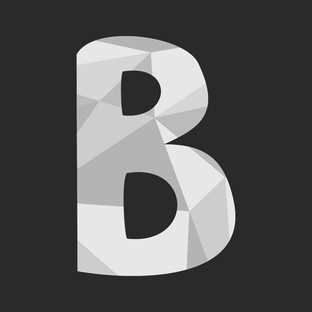 B low poly wrapping hand drawn alphabet letter gray surface isolated on black background vector illustration