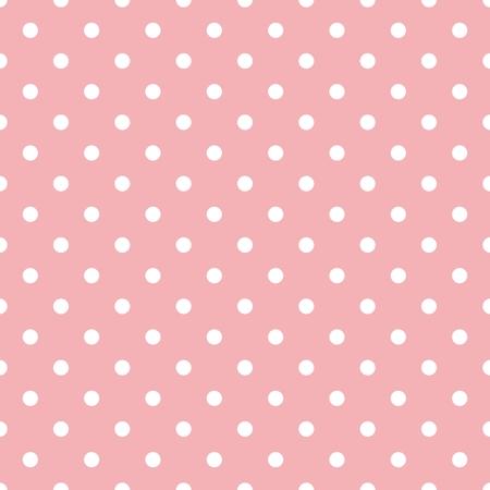 Illustration pour Tile pattern with white polka dots on pastel pink background - image libre de droit