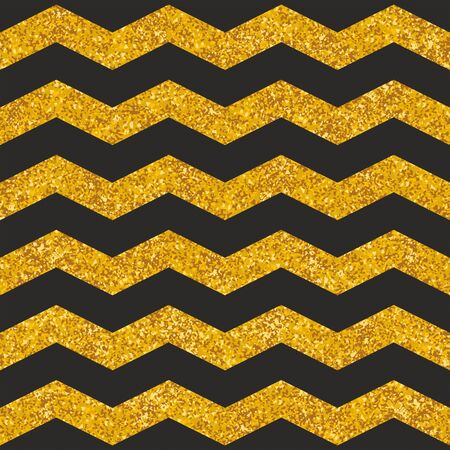 Illustration for Tile vector pattern with black stripes and gold background for seamless decoration wallpaper - Royalty Free Image