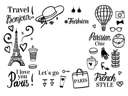Vektor für Paris Discount tour. Set shopping black sketch fashion illustration. Banner with space for text. Vector isolated on white background. - Lizenzfreies Bild