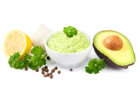 Guacamole and ingredients