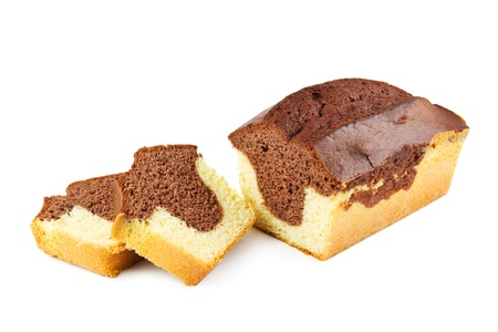 Marble cake on a white background