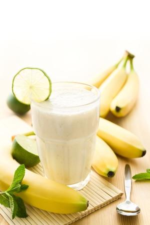 Banana milkshake or smoothie with bananas