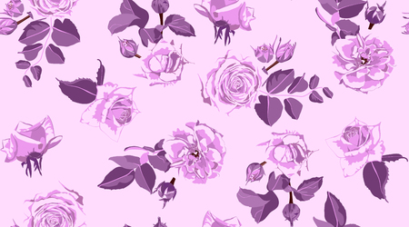 Illustration pour Rustic Rose, Seamless Floral Pattern in Watercolor Style. Hand Drawn Purple Roses with Petals for Wedding Decoration. Vintage Flowers Pattern, Elegant Wallpaper. Retro Rustic Roses or Peony Bouquet. - image libre de droit