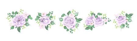 Illustration pour Vintage Wedding Card, Watercolor Rose, Floral Illustration. Vector Flower in Rustic Retro Style, Elegant Bouquet for Wedding. Summer Wreath, Invitation or Wedding Invite Template, Romantic Post Card. - image libre de droit