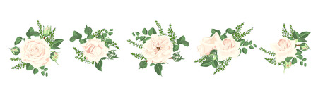 Illustration pour Watercolor Flowers Bouquet, Floral Wedding Collection. Vintage Vector Roses and Decorative Rustic Elements in Pastel Color Design. Spring Flower Illustration for Card and Invite. Isolated Wreath Set. - image libre de droit