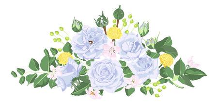 Illustration pour Vintage Bouquet of Roses, Floral Set in Watercolor Style. Greeting Card or Wedding Invite Design. Spring Flowers Vintage Illustration for Fashion Print, Elegant Wreath. Vector Vintage Card Template. - image libre de droit