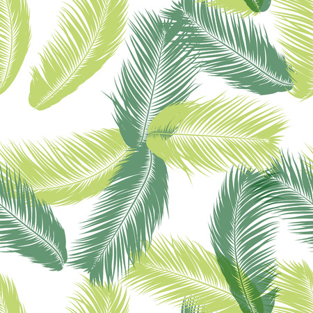 Illustration pour Vector Feathers. Tropical Seamless Pattern with Exotic Jungle Plants. Coconut Tree Leaf. Simple Summer Background. Illustration EPS 10. Vector Feathers Silhouettes or Hawaiian Leaves of Palm Tree. - image libre de droit