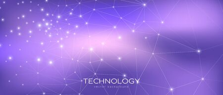 Illustration pour Abstract Data Flow. Violet Science Visualization. Purple 3d Minimal Background. Magic Triangular Texture. Data Tech Concept. Cosmic Science Wallpaper. Gradient Illustration. Technology Data. - image libre de droit