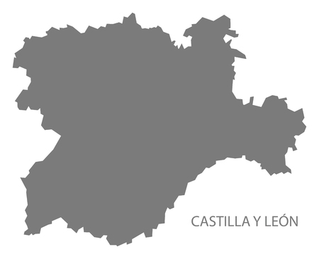 Castilla Y Leon Spain Map in grey