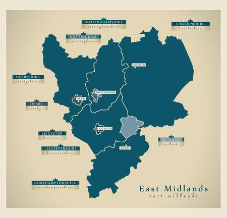 Illustration pour Modern Map - East Midlands UK - image libre de droit