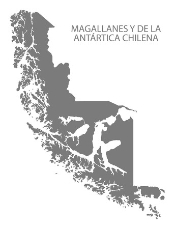 Magallanes y de la Antartica Chilena Chile Map in grey