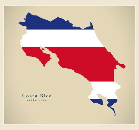 Modern Map - Costa Rica coloured CR