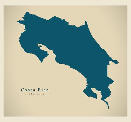 Modern Map - Costa Rica CR mainland silhouette
