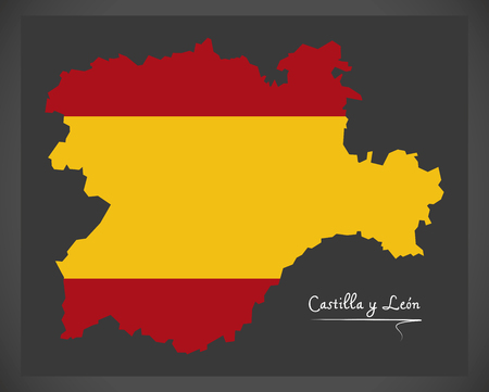 Castilla y Leon map with Spanish national flag illustration