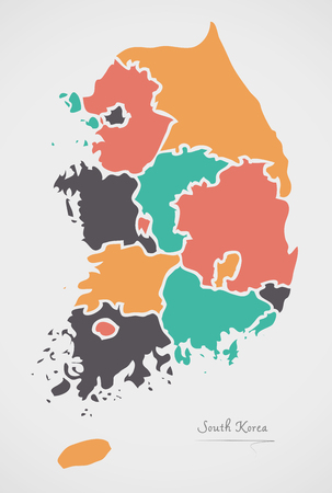 South Korea Map with states and modern round shapes