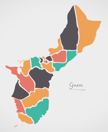 Guam Map with states and modern round shapes
