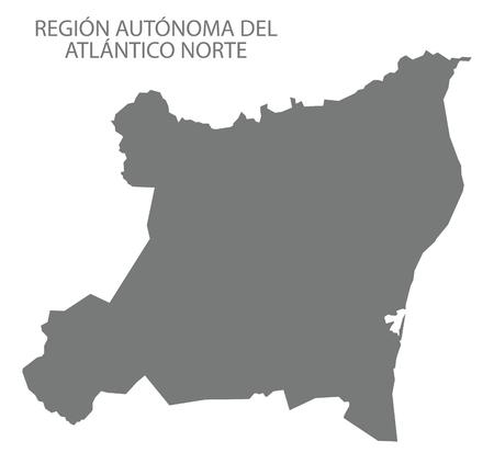 Region Autonoma del Atlantico Norte map of Nicaragua grey illustration silhouette shape