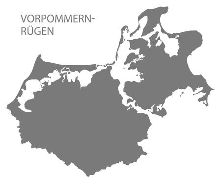 Vorpommern-Ruegen grey county map of Mecklenburg Western Pomerania DE